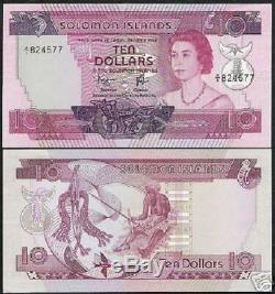 Îles Salomon 10 $ P7b 1977 Reine A / 1 Pfx. Unc Rare Pacific Money Money Note