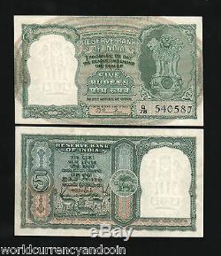 Inde 5 Roupies P34 1949 Rama Rausign Antilope Tiger Unc Monnaie Rare