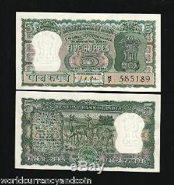 Inde 5 Roupies P54b 1957 Antelope Tiger Unc Lkj Billet De Monnaie Indienne 10 Billet De Banque