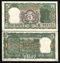 Inde 5 Roupies P55 1970 Bundle Antelope Tiger Unc Sj Monnaie Argent 100 Banknote
