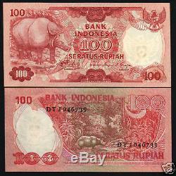 Indonésie 100 Rupiah P116 1977 Bundle Rhinocéros Unc Monnaie Bank Note 100 Bill