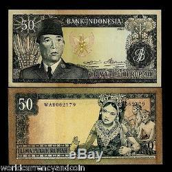 Indonésie 50 Rupiah P85b 1960 Sukarno Danseur Unc Monnaie Argent Bill Billets De Banque