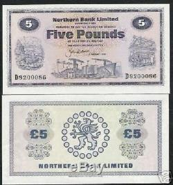 Irlande Du Nord 5 Livres P188 1986 Buffalo Navire Unc Rare Bill Monde Monnaie