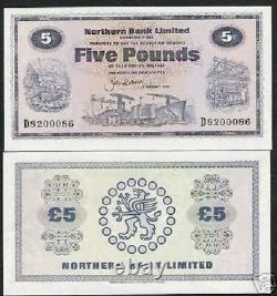 Irlande Du Nord 5 Livres P-188 1986 Buffalo Ship Unc Rare Bill World Currency