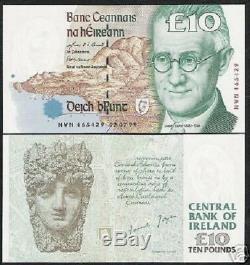Irlande République 10 Livres P76 1999 Jyoce Euro Unc Rare Monnaie Irish Bank Note