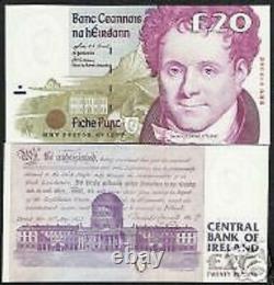 Irlande République 20 Livres P-77 1999 Cheval Euro Unc Rare Irlandais Devise