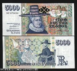Islande 5000 Kronur P60 2001 Chapeau Unc Broderie 2 Épouses Bishop Monnaie Banknote