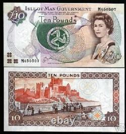 Isle Of Man 10 Pounds P44 A 1998 Queen Map Castle Unc GB Uk Currency Money Note