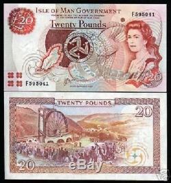 Isle Of Man 20 Pounds P45a 2000 Queen Map Unc GB Uk Monnaie Argent Projet De Loi Billet