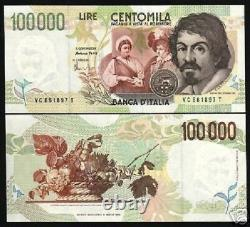 Italie 100000 100.000 Lire P-117 1994 Euro Unc Caravaggio Lion Currency Bank Note