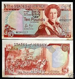 Jersey 10 Livres P17 1989 Bataille Reine Low # Unc Monnaie Money Bank Note GB Royaume-uni