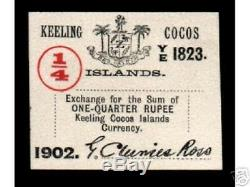 Keeling & P Cocos 1/4 Roupie S124 1902 Oiseaux Unc Véritable Monnaie D'argent Bill Note