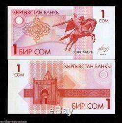 Kirghizistan Som 1 P4 1993 Bundle Aigle Cheval Unc Monnaie De L'argent Du Projet De Loi 100 Banknote