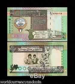Koweït 1/2 Dinar P24 1994 Sign8 Unc Bateau Falcon Souk Monnaie Argent Bill 5 Note