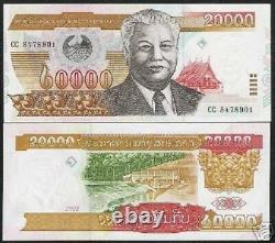 Laos 20000 20 000 Kip P-36 2003 X 20 Pcs Lot Unc Bundle Lao Currency Bank Note