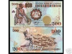 Lesotho Afrique 200 Maloti P20a 1994 Horse Mouton Unc Monnaie Argent Projet De Loi Billet