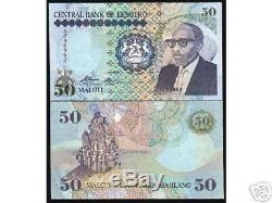 Lesotho Afrique 50 Maloti P13 1989 Conception Graphique De Chevaux Unc Rare Currency Note