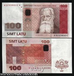 Lettonie 100 Latu P57 2007 Euro Hybrid Polymer Unc Currency Money Bill Bank Note