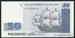 Lettonie 50 Latu P46 1992 Euro Voile Navire Key Cross Unc Monnaie Bill Note