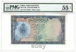 Libye Libye Libye 1 Livre 1955 (1959) P20 Un Unc Au Pmg55 Roi Idris Era Monnaie