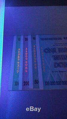 Lot 10/20/50/100 Billions De Dollars Zimbabwéens! Unc 2008 Aa Original Monnaie
