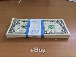 Lot De 100 Billets Consécutives De Billets De Banque En Papier-monnaie À 1 $ Unc