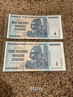 Lot De 2008 100 Trillion Dollars Zimbabwe Banknote Aa P-91 Gem Unc Devise Bill