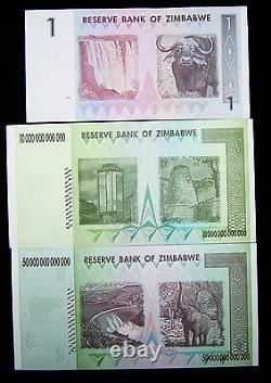 Lot De 3 Billets Du Zimbabwe-1 Dollar, 10&50 Trillions De Dollars-monnaie Unc