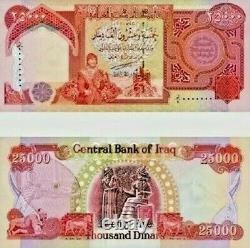 Lot De 4 X 25000 Billets De Banque Dinars Iraquiens Unc = 100 000 Iqd 1/10 Devise