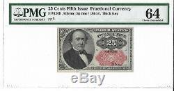 M1 Fr1309 25 Cents 5ème Edition Fractional Currency Pmg 64 Ch Unc Livraison Gratuite