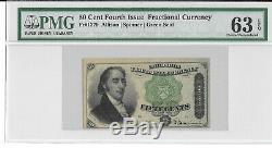 M1 Fr 1379 50 Cents Fractional Currency Pmg 63 Epq Ch Unc Livraison Gratuite