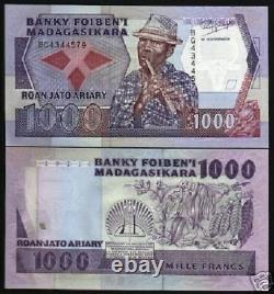 Madagascar 1000 Francs P72 1988 Flûte Fruit Unc Monnaie Argent Billet 10 Billets