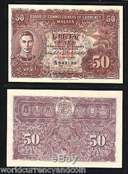 Malaisie 50 Cents P10 B 1941 King George VI Unc Malaisie Monnaie Argent Bill Remarque