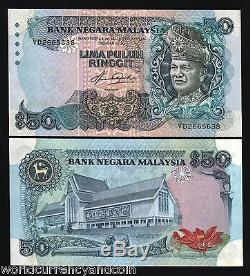 Malaisie 50 Ringgit P23 1983 Roi Cerf Rahman Unc Argent Monnaie Bill Billets De Banque