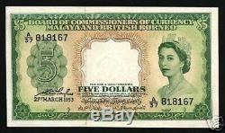 Malaisie Et Bornéo Britannique Malaisie 5 $ P2 1953 Reine Unc Rare Monnaie Note Argent