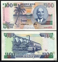 Malawi 100 Kwacha 1994 P29b Banda Bateau Coq Unc Monnaie Argent Bill Billets De Banque
