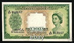 Malaya & British Bornéo Malaisie $5 P2 1953 Queen Unc Rare Currency Money Note