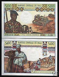 Mali 500 Francs P12d 1973 Camel Rifle Unc Tracteur Rare Signe Monnaie Argent Bill