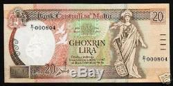 Malte 20 Liri P44 1967 Pigeon Low Sr # Unc Rudder Euro Rare Monnaie Note D'argent