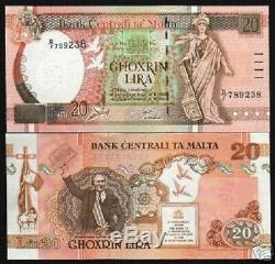 Malte 20 Liri P48 1967 Rudder Pigeon Unc Monnaie Argent Bill Euro Bank Note