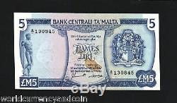 Malte 5 Pounds P32b1967 Euro Oiseau Unc Carte Statue Soleil Bateau Monnaie Argent Note