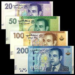 Maroc 4 Pcs Billets Collect 20,50,100,200 Dirhams Mad Monnaie Réel Unc