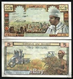 Maroc 5 Dirhams P53 1969 King Muhammad V Unc Monnaie De Tracteur Billets De Banque