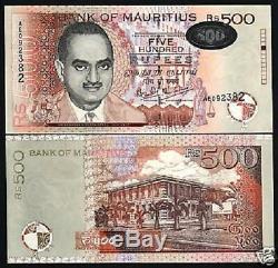 Maurice 500 Roupies P53 1999 Bisoondoyal Unc Université Monnaie Argent Banknote