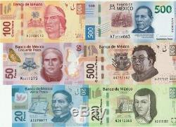 Mexique 20-50-100-200-500-500 Pesos Billets De Banque En Polymère 6 Pcs Set Unc