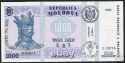 Moldavie 1000 1000 Lei P-18 1992 King Flag Rare Date Unc Currency Bill Banknote