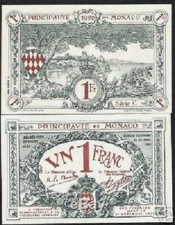 Monaco 1 Franc P5 1920 Sans Série D'urgence C Unc Rare Monnaie Euro Money