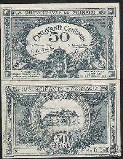 Monaco 50 Cents P3 1920 Château Série E Rare Unc France Euro Monnaie Argent Remarque