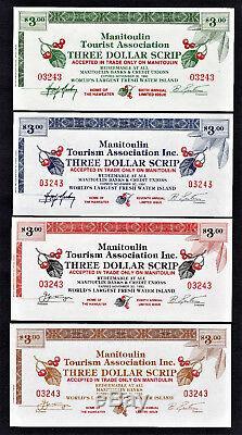 Monnaie Locale Canadienne Manitoulin 3 Dollar 9 Correspondance Série Set 1985-1993 Unc