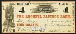 Monnaie Obsolète 9 Décembre 1861 Augusta, Ga Savings Bank $4 CIVIL War Era! Unc